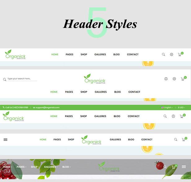 Organick Header Styles